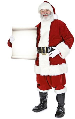 Santa Claus With Small Sign Lifesize Cardboard Cutout - 1.8m