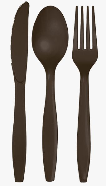Chocolate Colour Cutlery - Pack of 24