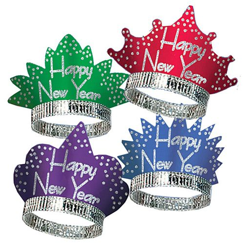 Happy New Year Headliner Tiaras - Assorted Colours - Each