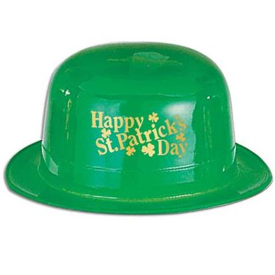 Happy St Patricks Day Plastic Derby Bowler Hat
