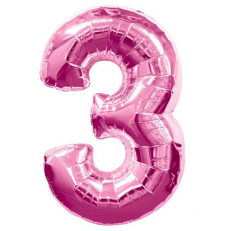 Pink Number 3 Foil Balloon - 35