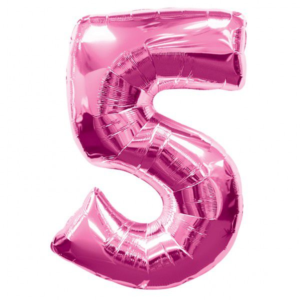 Pink Number 5 Foil Balloon - 35""