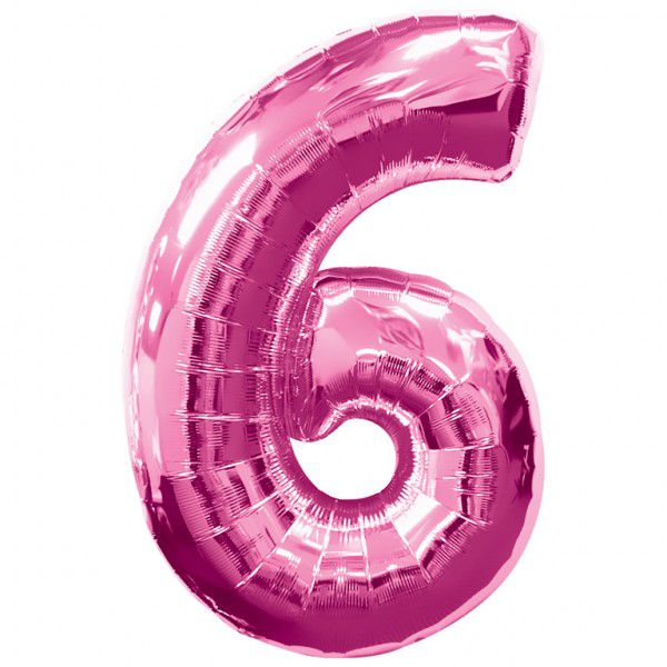 Pink Number 6 Foil Balloon - 35""