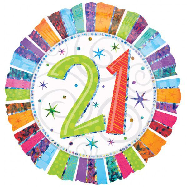 21st Radiant Birthday Foil Balloon - 18""