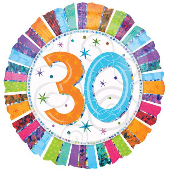 30th Radiant Birthday Foil Balloon - 18""