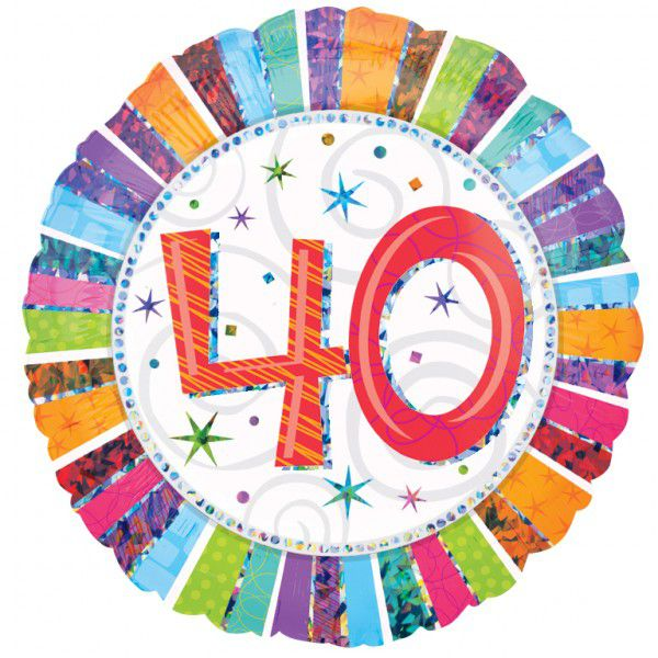 40th Radiant Birthday Foil Balloon - 18""