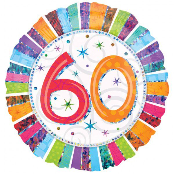 60th Radiant Birthday Foil Balloon - 18""