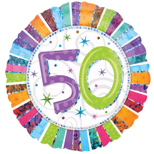 50th Radiant Birthday Foil Balloon - 18""