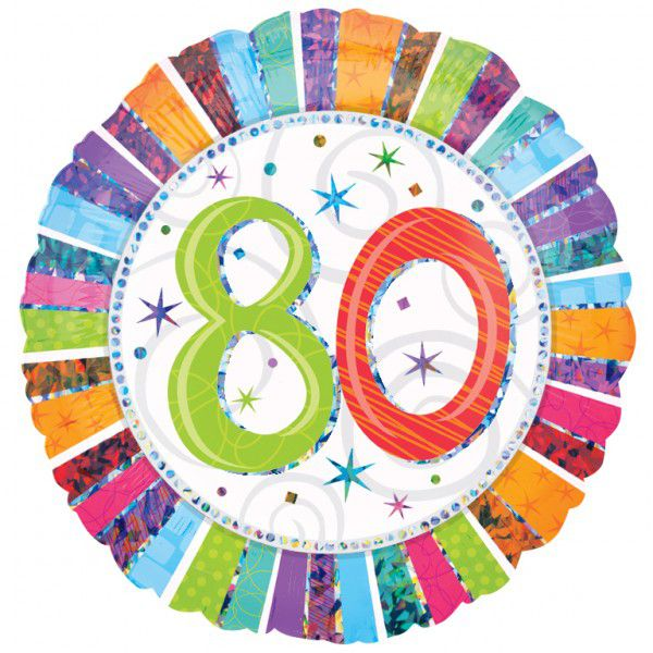 80th Radiant Birthday Foil Balloon 18""