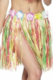 Multi Adult Grass Skirt With Flowers- 46cm