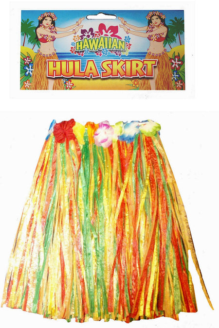 Child's Multicolour Grass Skirt With Flowers- 43cm