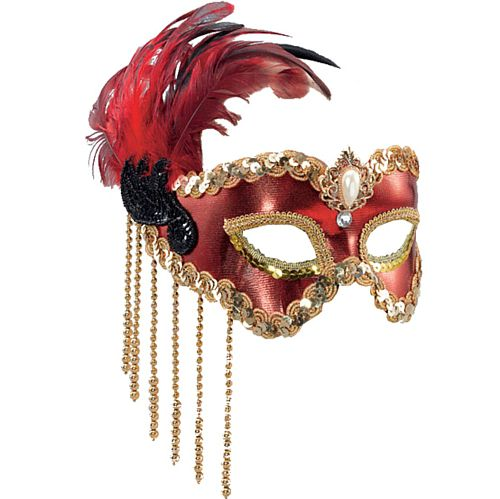 Red Satin Eye Mask on Headband With Feathers