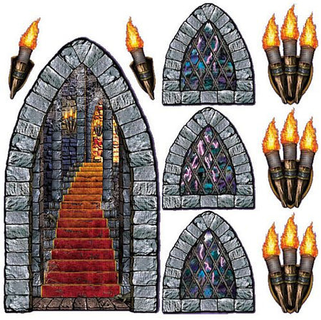 Stairway, Window & Torch Scene Setters - Set of 9 - 18 - 60