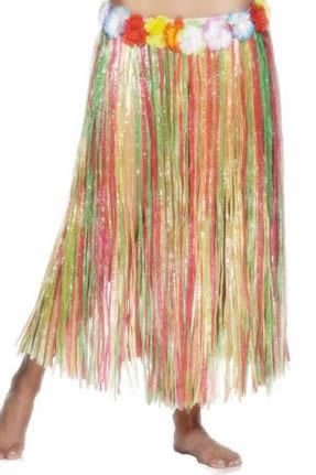 Long Multicoloured Adult Hula Skirt- 80cm