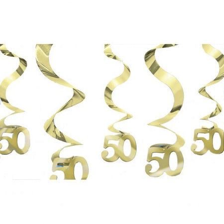 Click to view product details and reviews for Golden Anniversary Wishes Swirl Decoration Pack Of 5 60cm.