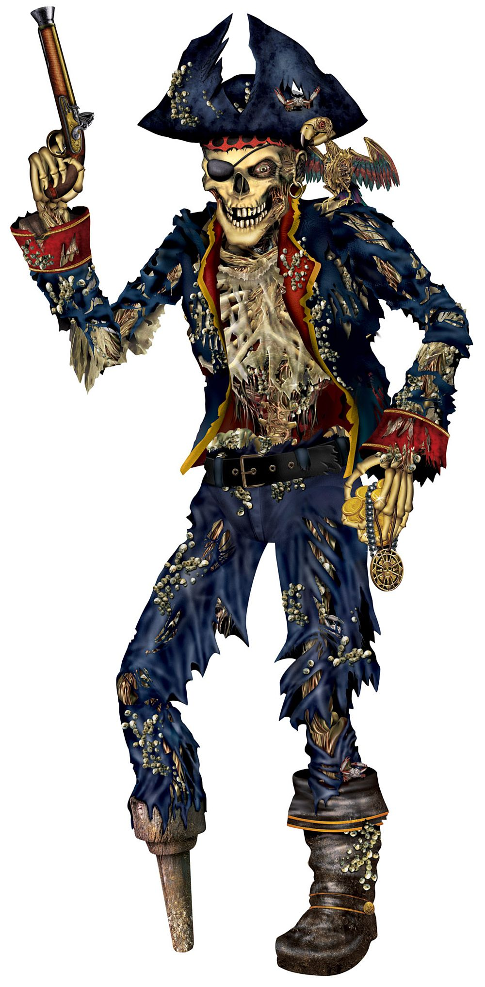 Pirate Skeleton Jointed Cutout Wall Decoration - 1.82m