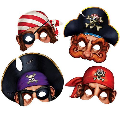 Pirate Mask - Pack of 4