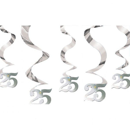 Silver Anniversary Wishes Hanging Swirls - Pack of 5