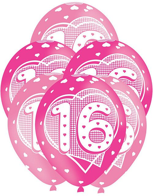 "Pink 16th Birthday Balloons 11"" - Pack of 6"