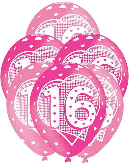 Pink 16th Birthday Balloons 11 Pack Of 6