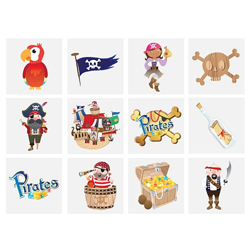 Mini Pirate Tattoos - Assorted Designs - 4cm - Pack of 12