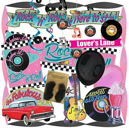 Standard Rock 'n' Roll 1950's Party Decoration Pack