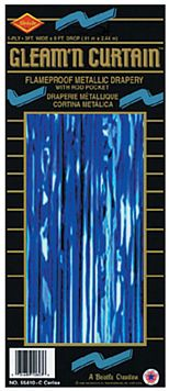 Blue Shimmer Curtain - Flame Retardent - 2.5m x 90cm