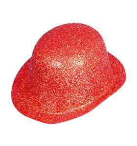 Red Glitter Bowler Hat