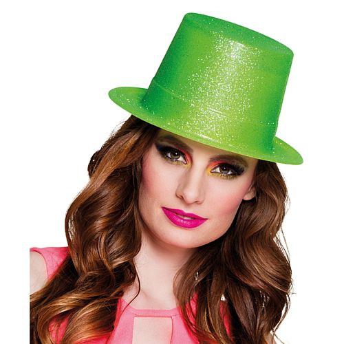 Neon Green Glitter Plastic Top Hat - Each