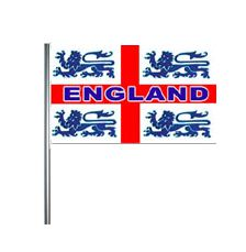 England Three Lions Cloth Flag On Pole - 18""