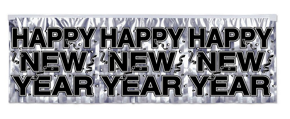 Metallic Silver Happy New Year Banner - 4ft