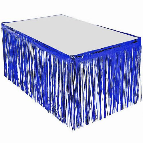 Blue Metallic Table Skirting - 76cm x 4.3m