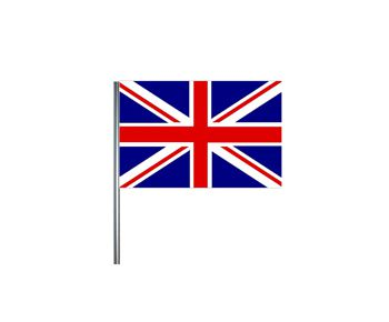 British Union Jack Small Cloth Flag On A Pole - 23cm x 15cm