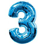 Blue Number 3 Foil Balloon - 35