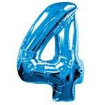 Blue Number 4 Foil Balloon - 35""