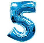 Blue Number 5 Foil Balloon - 35""