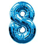 Blue Number 8 Foil Balloon - 35""