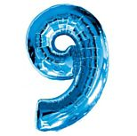 Blue Number 9 Foil Balloon - 35""