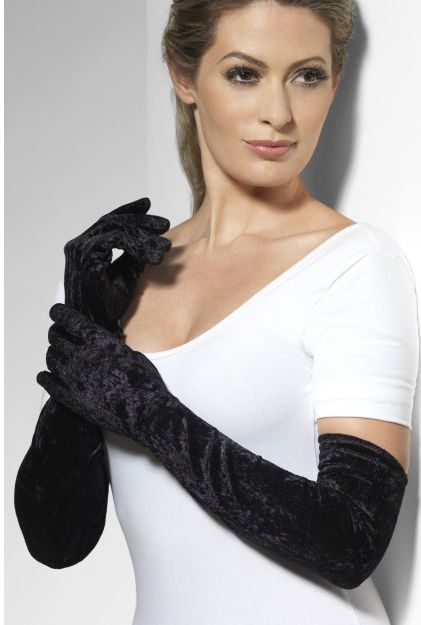 Long Black Velvet Opera Gloves