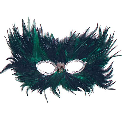 Green & Black Feather Eye Mask
