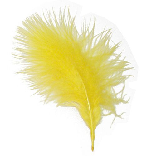 Yellow Marabou Feathers - 15cm to 20cm - Pack of 12