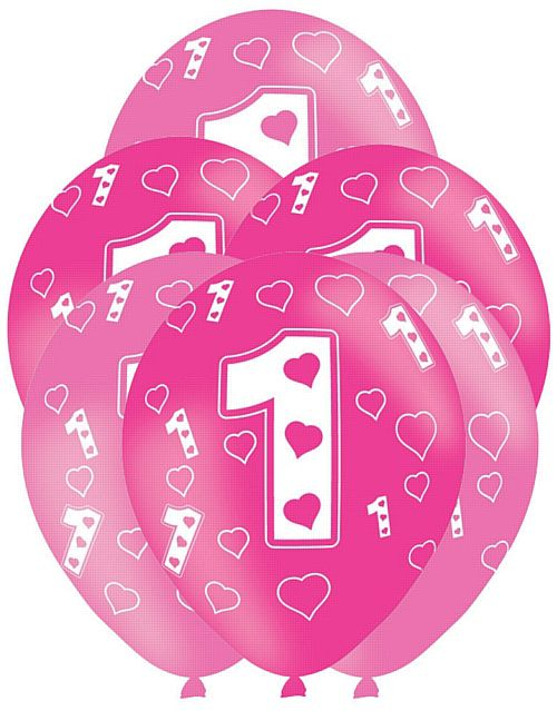 1st Birthday Pink Latex Balloon - 27.5cm - Pack of 6