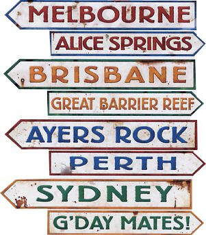 Australian Street Sign Cutouts - Pack of 4
