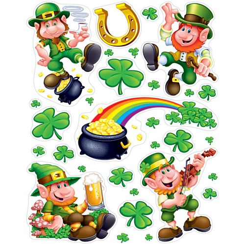 Leprechaun and Shamrock Window Decorations - 43.2cm - 10 Per Sheet