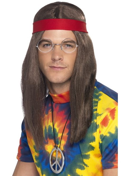 Hippy Kit With Wig, Headscarf and Specs