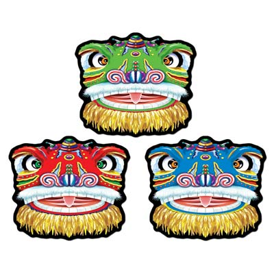 Chinese Dragon Cutout Wall Decorations - 36cm - Pack of 3