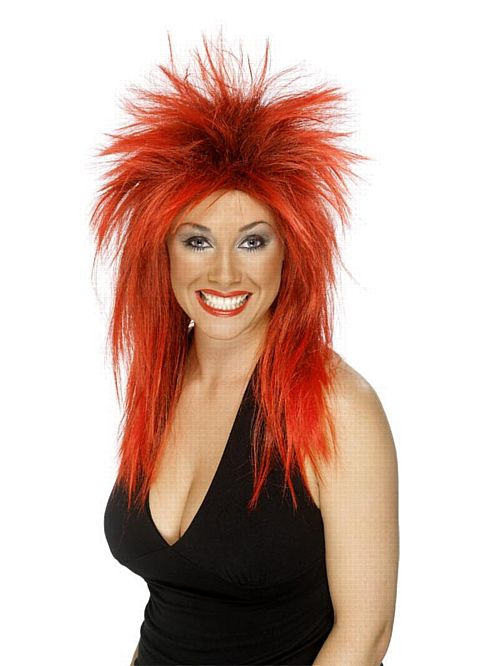 Rock Diva Wig Red & Black