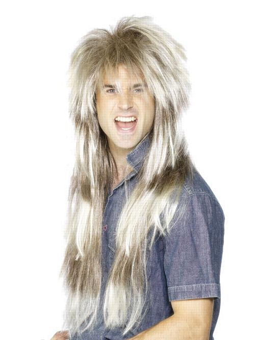 80s Throwback Mullet Wig - Blonde & Brown