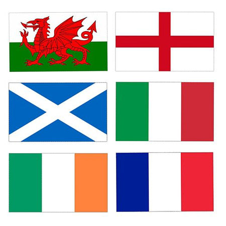 6 Nations Rugby Cloth Flag Pack - 5ft x 3ft - 6 Flags