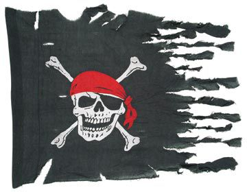 "Weathered Pirate Flag - 29"" x 40"""